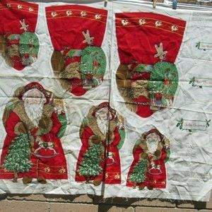 Other - Fabric Panel Father Chrismtas Santa Claus Old Fash